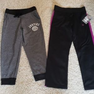 2 pairs girls size 6/7 athletic pants.